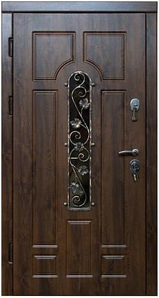 Уличные  входные двери Арка винорит с ковкой и стеклом, фото 2