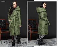 Женское зимнее тёплое на синтепоне пальто на запах, на кнопках и с поясом (плащевка +синтепон) 4 цвета