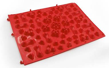 Детский ортопедический и массажный коврик-пазл OSPORT 27х38см Красный