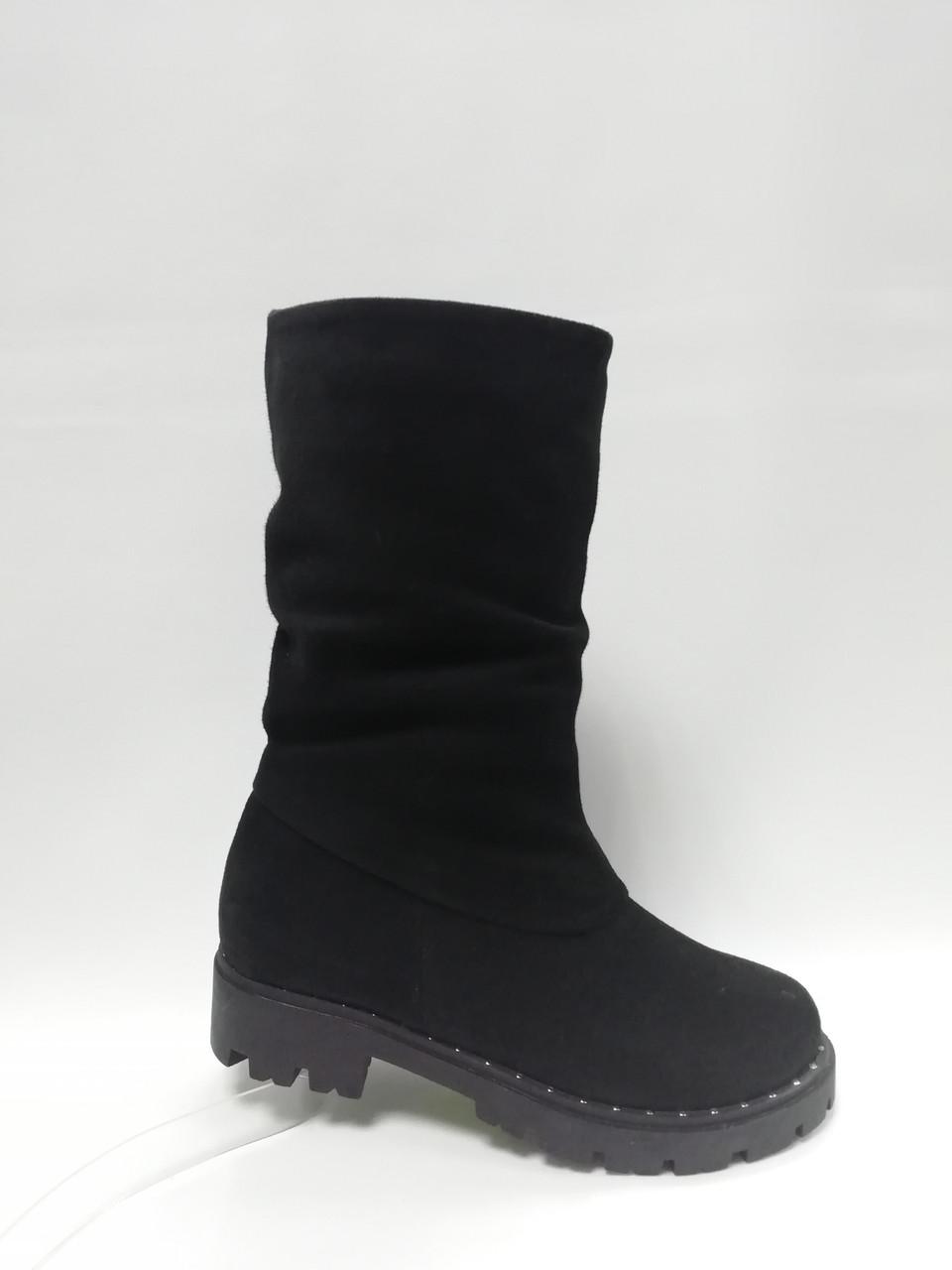 Черные замшевые  зимние сапоги. Маленькие размеры. Украина.