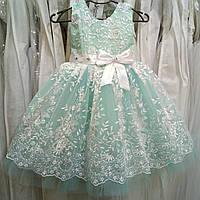 Шикарное бирюзовое детское платье-маечка с кружевом и пайетками на 3-5 лет 1f7c2a8455e20