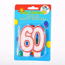 """Свечка цифра """"60"""" юбилейная с блестками"""