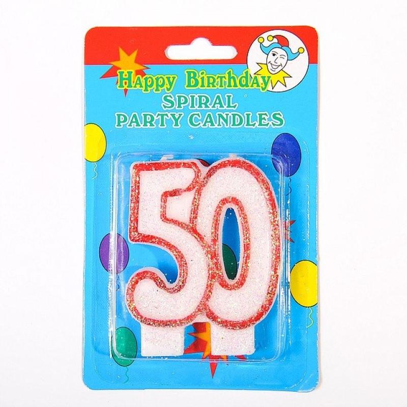 """Свечка цифра """"50"""" юбилейная с блестками"""
