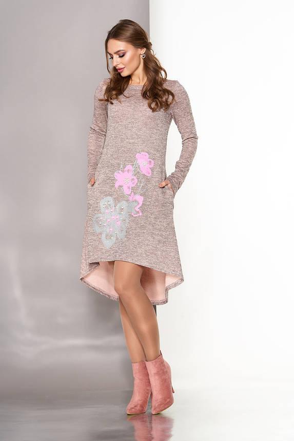 Нарядное осеннее платье трапеция из ангоры персиковое, фото 2