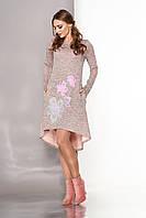 Нарядное осеннее платье трапеция из ангоры персиковое