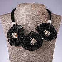 Колье на шнуре Бархатцы черные текстиль фэшн, длина 48-55см