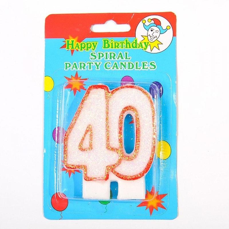 """Свечка цифра """"40"""" юбилейная с блестками"""