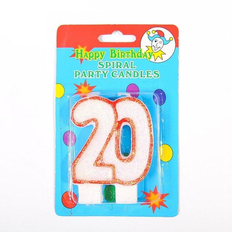"""Свечка цифра """"20"""" юбилейная с блестками"""