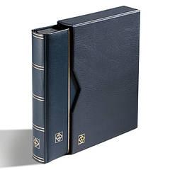Альбом для марок (кляссер) PREMIUM из LEFA кожи с 32 листами из черного картона, А4 с футляром, синий