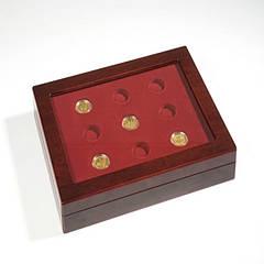 Кассета Leuchtturm из дерева для золотых монет 100 евро и слабов