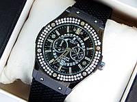Кварцевые наручные часы Hublot geneve скелетоны, черного цвета, два ряда страз, дата, фото 1