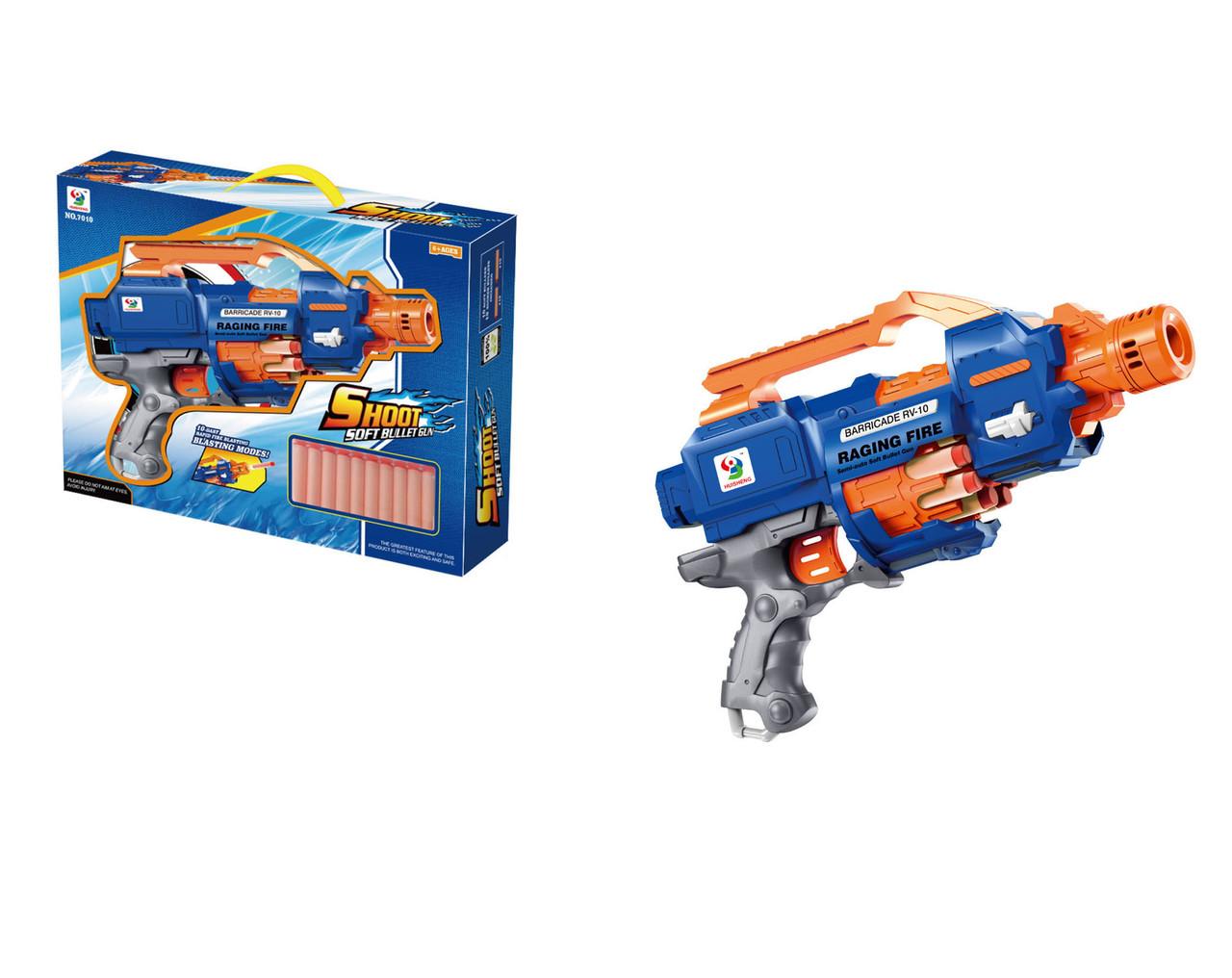 Пистолет игрушечный с барабаном, стреляет мягкими патронами, работает от батарей батарей