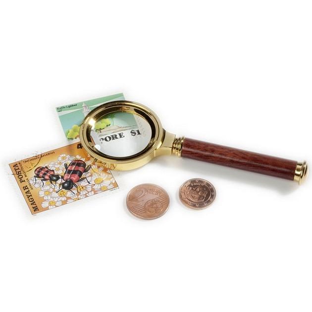LU14 Лупа 5x30, позолота, деревянная ручка
