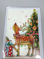 Открытка новогодняя с рисунком олень