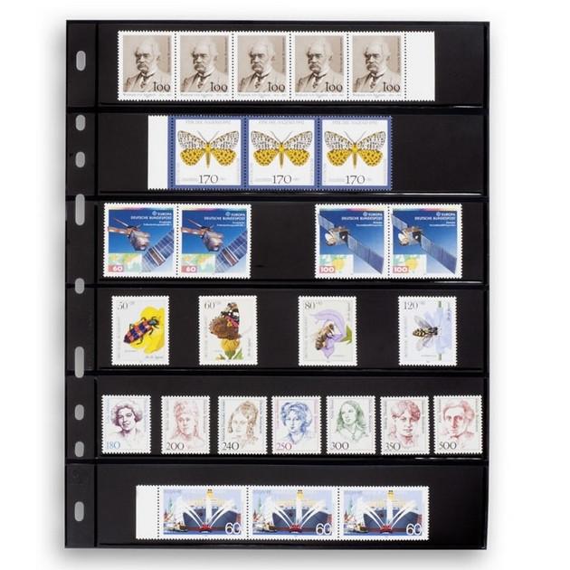 Лист до альбому Leuchtturm, OPTIMA, 2x6 поділок по 180 x 35 мм, чорний, 6S