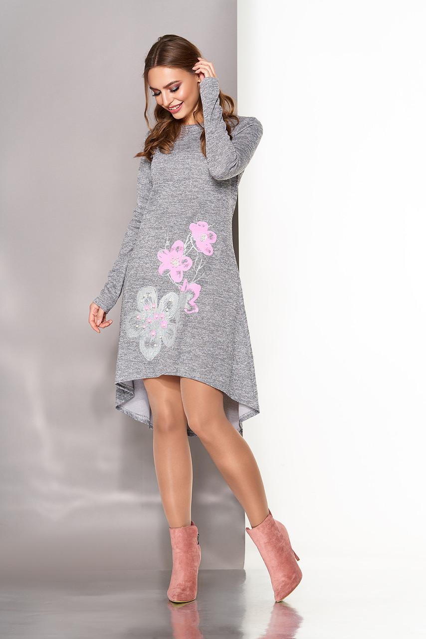 Платье трапеция трикотажное серое