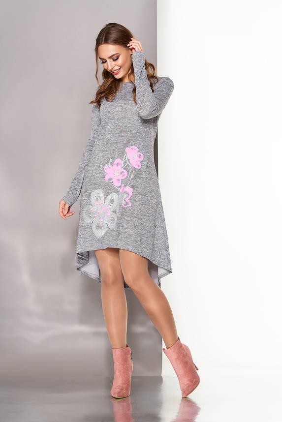 Платье трапеция трикотажное серое, фото 2