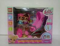 Набор LOL в коробке , 1 шт коляска , 2 шт стульчика , посудка , 2 шт куколки LOL MMI-178105-2