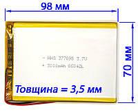 Универсальный аккумулятор 3000мАч 357098 мм для планшета Bravis NP71, NP72, NP725, NP747, NP844, NB85, NB701, фото 1