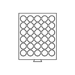 Бокс Leuchtturm для монет (диаметр ячейки 38 мм) MBCAPS32, для 2 грн. НБУ нейзильбер