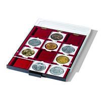 Бокс Leuchtturm для монет (размер ячейки 67*67 мм) в холдерах или капсулах QUADRUM