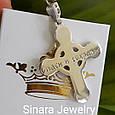 Чоловічий хрестик срібло з золотом, фото 4