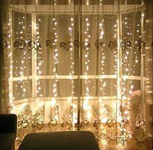 Гирлянда штора 3x6 м 600 LED теплый белый