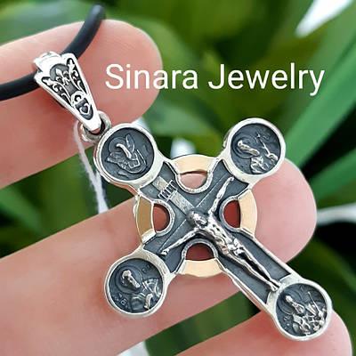 Чоловічий хрестик срібло з золотом