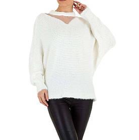 Женский свитер травка с рукавами летучая мышь Voyelles (Италия), Белый