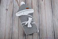 Велюровый конверт для новорожденного зимний, на махре, темно серый меланж, фото 1