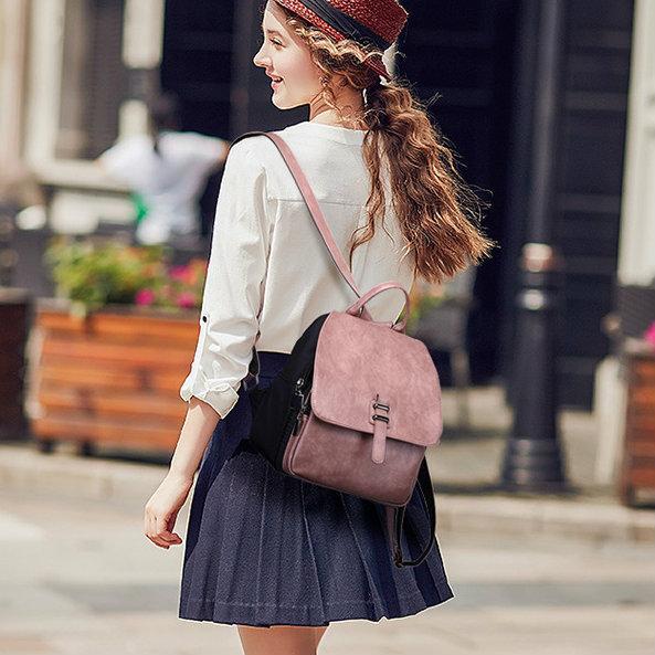 классический женский рюкзак розовый