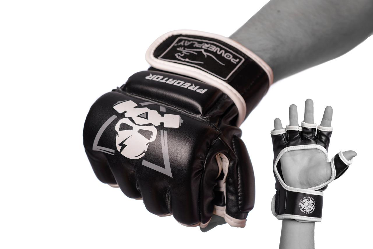 Перчатки для MMA PowerPlay 3056 А черно-белые S