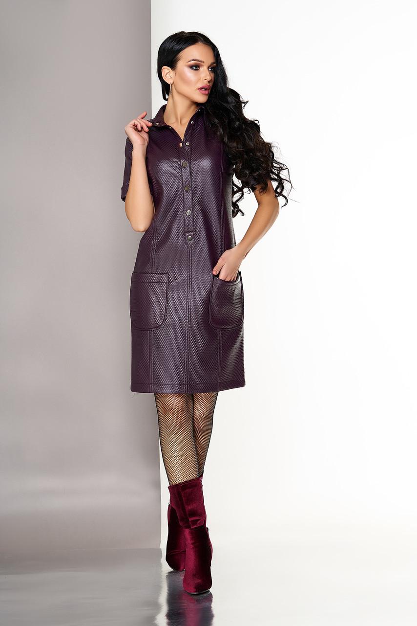 Красивое бордовое платье поло из эко кожи