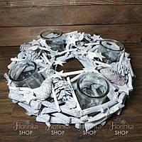 Подсвечник рождественский белый. Диаметр - 38 см. Новогодняя композиция на стол.