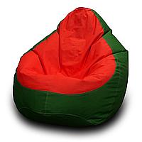 Кресло мешок груша PufOn, Оксфорд L, Зеленый, Красный