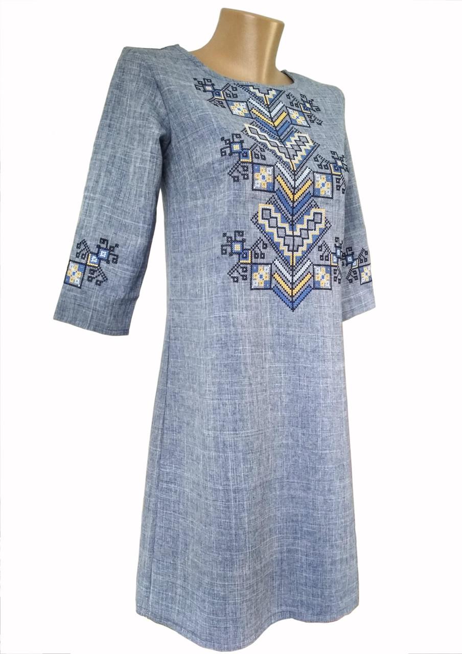 Молодежное вышитое платье короткого фасона в синем цвете «Дерево жизни»