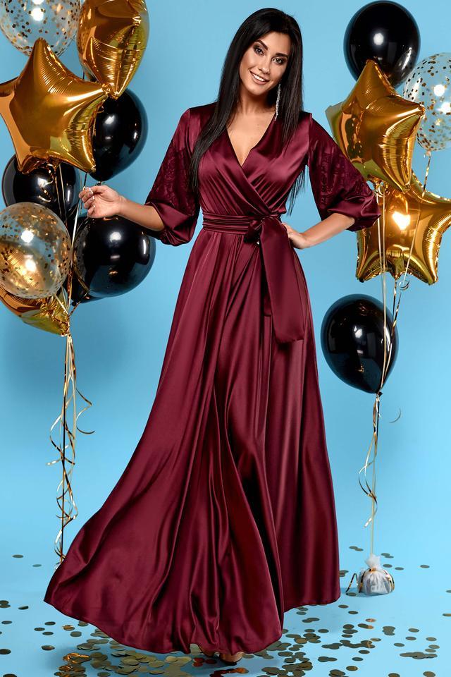 Женское вечернее платье, размеры от 42 до 50, марсала, шёлковое, нарядное, длинное, элегантное, макси
