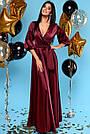 Женское вечернее платье макси марсала шёлковое, фото 2