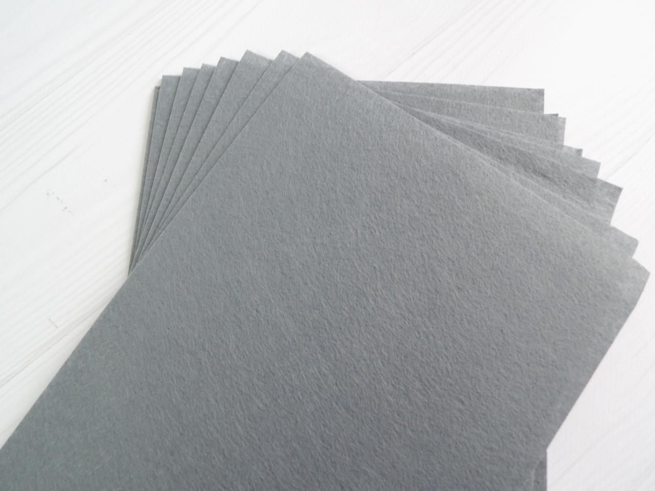 Фетр 1мм жорсткий китайський 20*30 см сірий