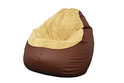 Кресло мешок PufOn, Гибрид XL, Коричневый, Бежевый