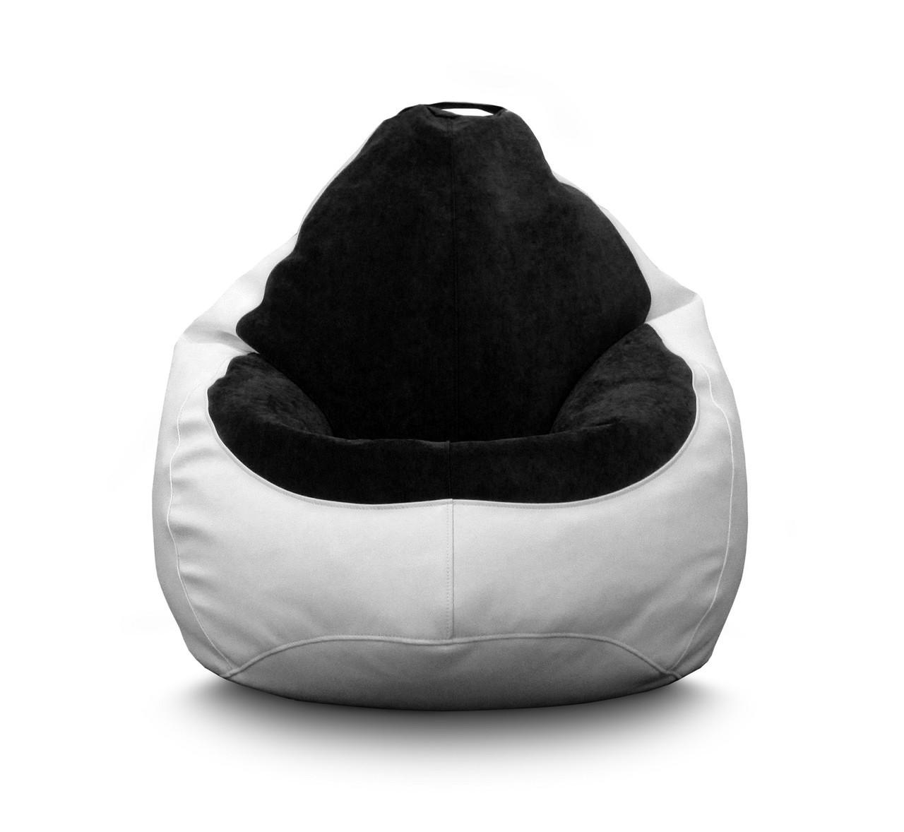 Кресло мешок PufOn, Гибрид L, Белый, Черный