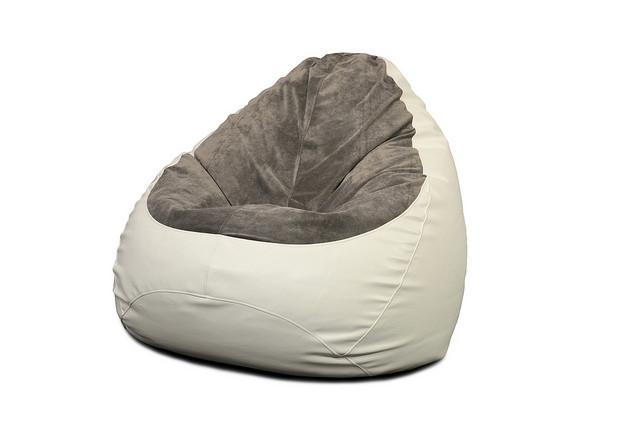 Кресло мешок PufOn, Гибрид L, Белый, Серый