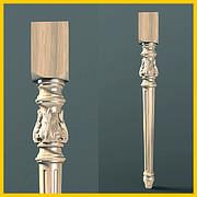 Ножка резная для стола из дерева. Круглая с квадратным основанием, листами и канелюрами. 730 мм
