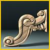 Выгнутая ножка для круглого стола. Деревянная центральная опора с богатым резным декором. 180 мм