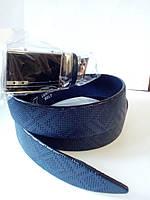 Синий перфорированный кожанный ремень автомат