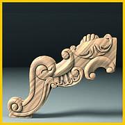 Выгнутая ножка для круглого стола. Деревянная центральная опора с богатым резным декором. 233 мм