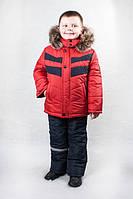 Зимний раздельный комбинезон на мальчика Красный, фото 1
