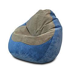 Бескаркасное кресло мешок Флок PufOn, L, Голубой, Серый