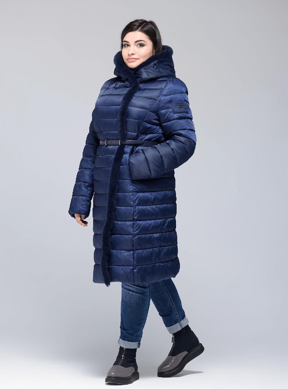 a8bb105d459 Женская длинная зимняя куртка Сlasna синего цвета ( 570) CW17D041CQL с натуральным  мехом -