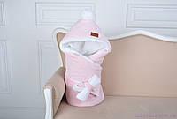 Велюровый зимний конверт-одеяло, на махре, розовый меланж, фото 1